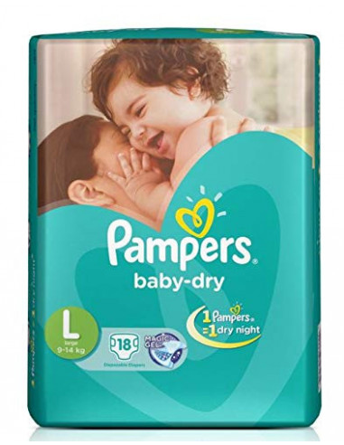 PAMPERS BABY DRY LARGE 18 DIAPERS