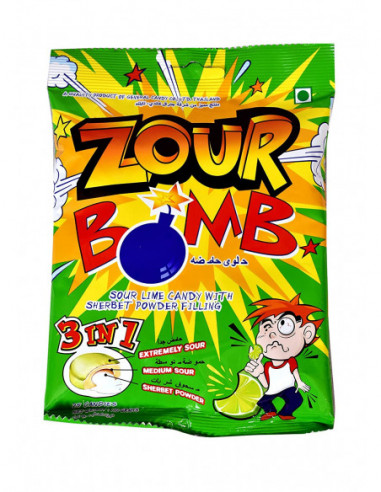 ZOUR BOMB SOUR LIME CANDY 3 IN 1 110 GM